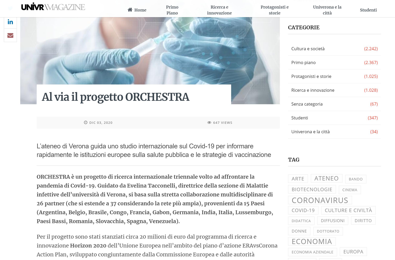 Al via il progetto ORCHESTRA